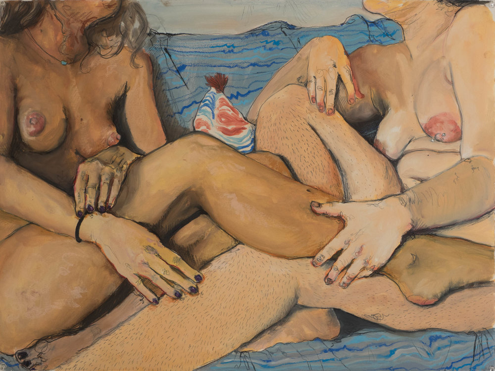"""One of The French Girls oil paint, pastel, graphite, and charcoal on paper 22"""" x 30"""""""