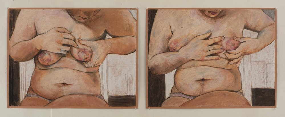 """Quiet Game charcoal, pastel, and graphite on paper 19"""" x 53"""""""