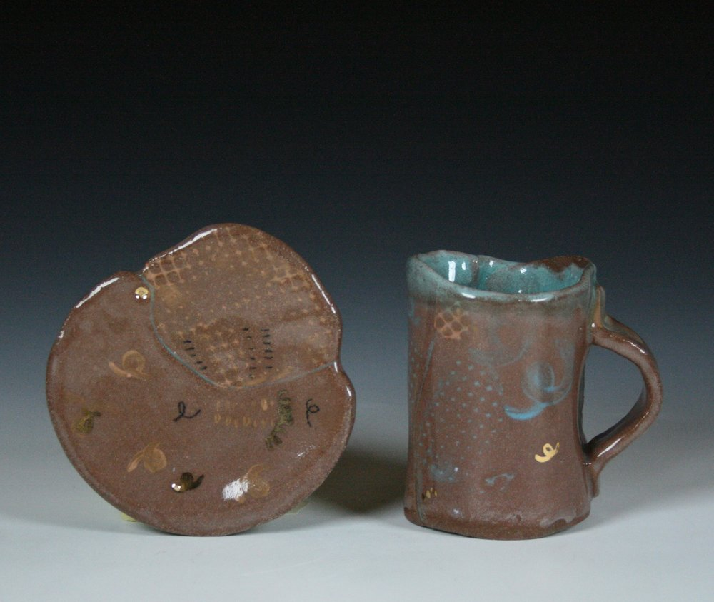 Cup and Saucer 1 , Stoneware with gold luster, Cone 5