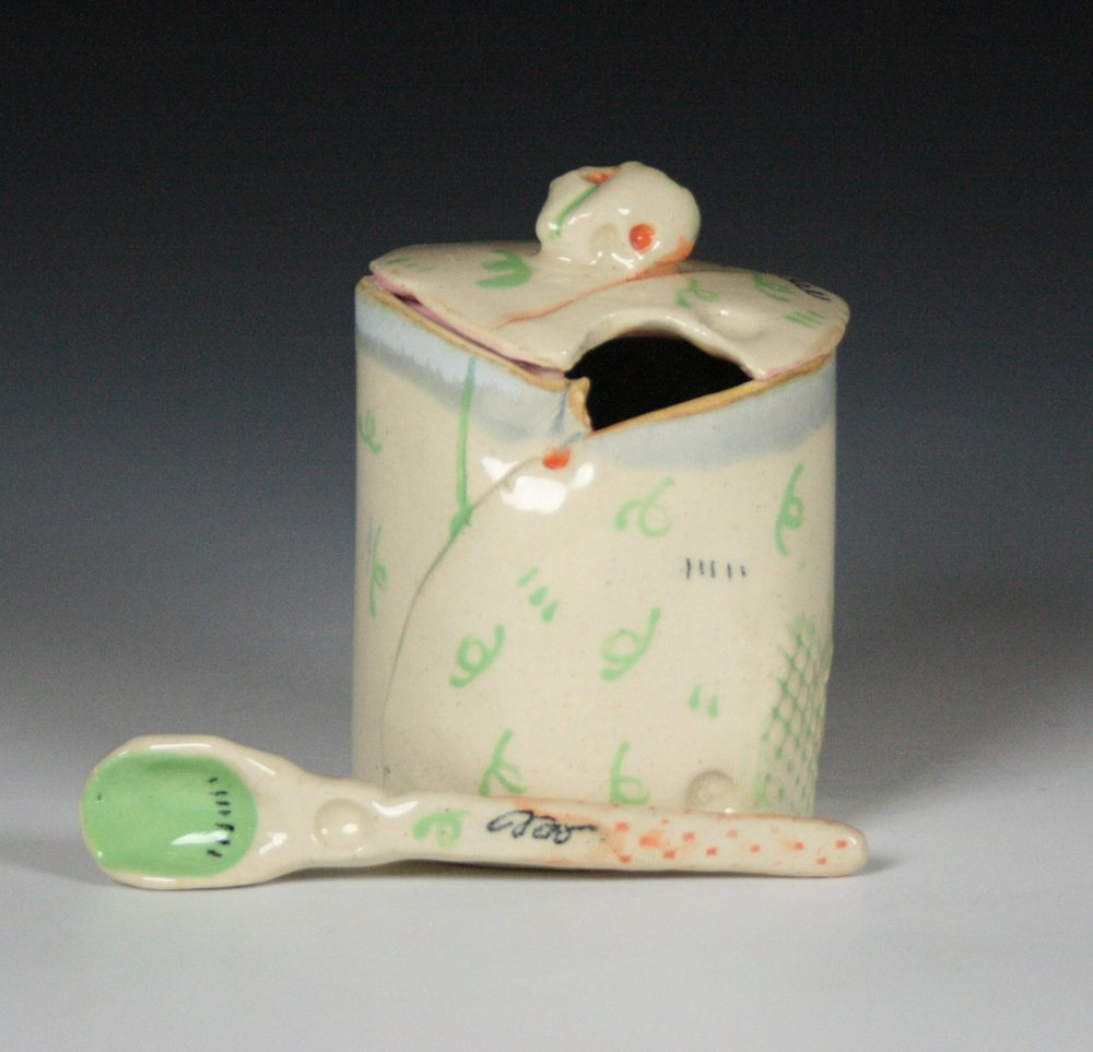 Sugar Jar , Stoneware, Cone 5 (view one)