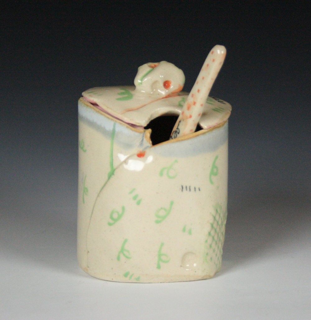 Sugar Jar,  Stoneware, Cone 5 (view two)