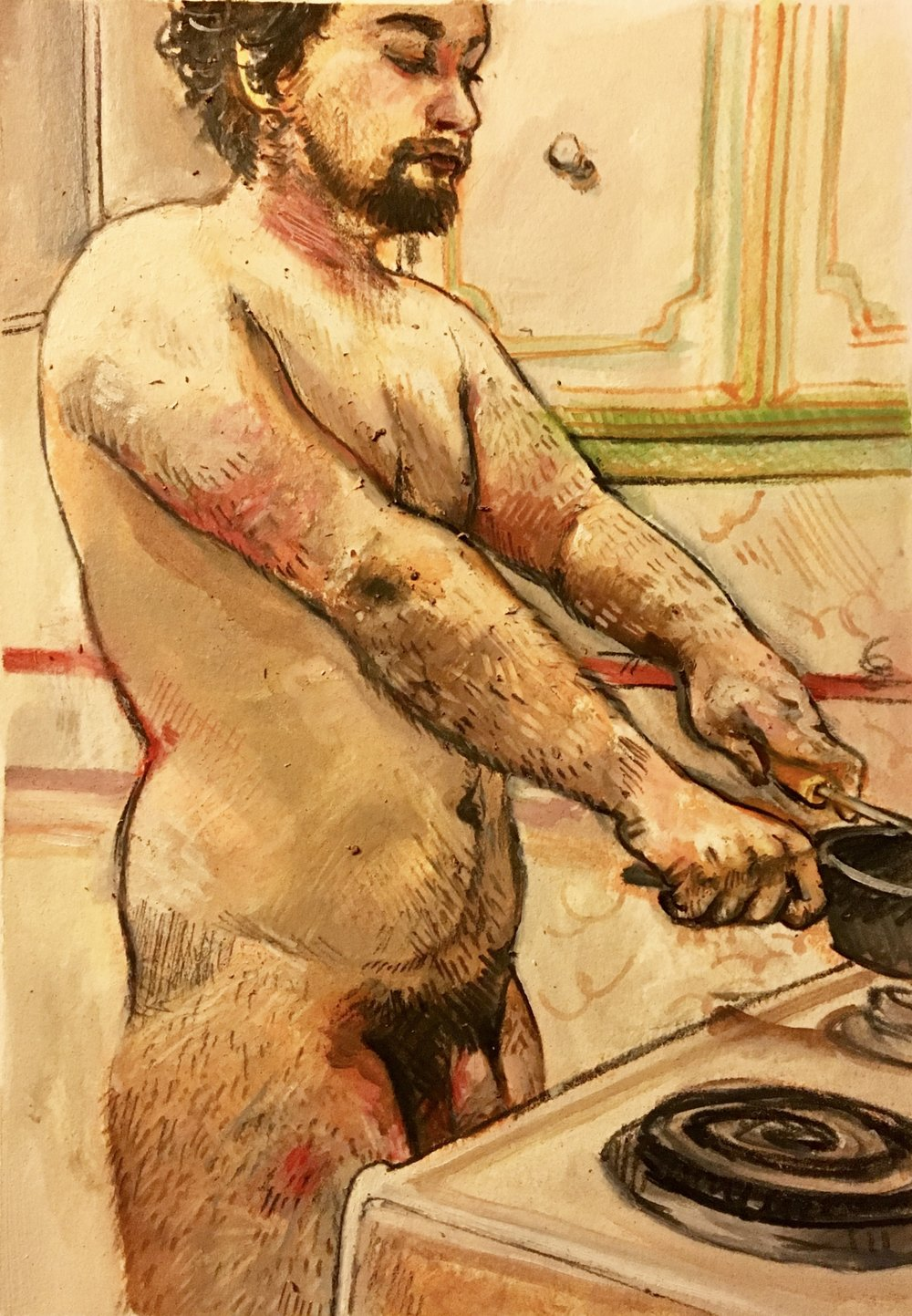 Breakfast,  oil paint, pastel, and graphite on oil paper