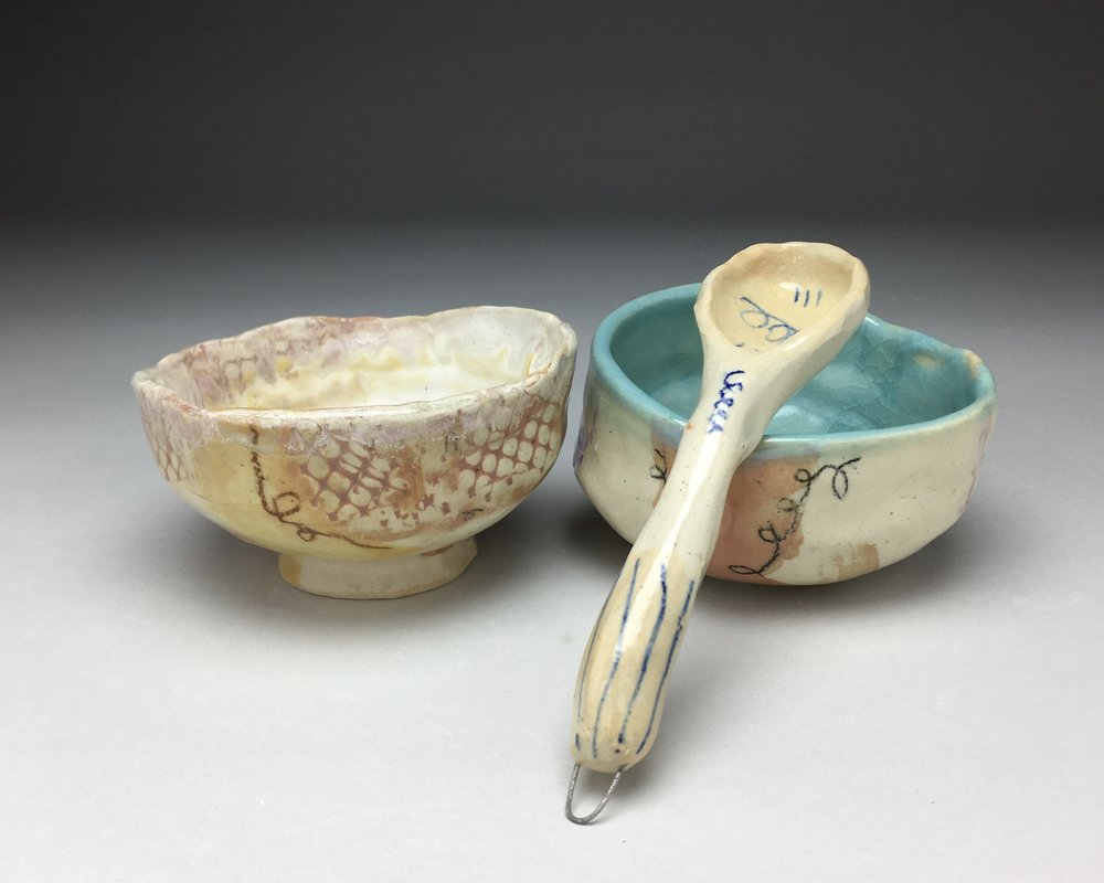 Two Small Dishes,  Stoneware, Cone 5