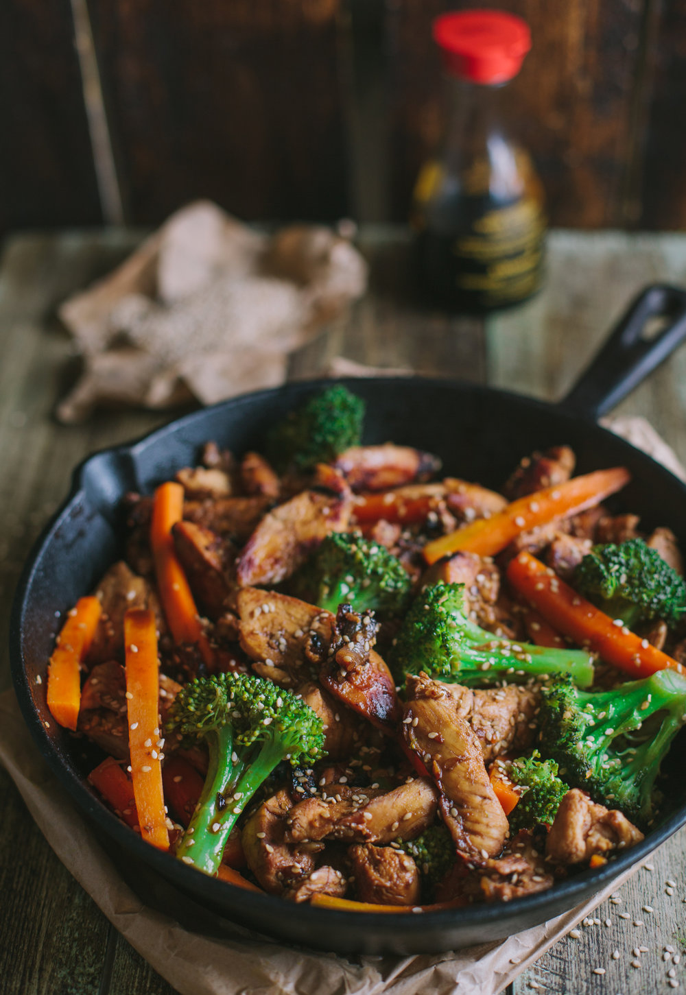 Saintly Beef Broccoli Stir Fry    2 carrots, sliced into strips  1 packet Mediterranean Spice Sprinkles  1 tbsp soy sauce  2 tsp cider vinegar  1 clove garlic, minced  1⁄2 tsp sugar   1⁄2 lb sirloin steak, cut into 1/4 inch strips  1⁄4 cup broccoli  1 tbsp sesame seeds, toasted  1⁄2 tsp oil  2 scallions sliced  3 tbsp beef stock  1tsp corn starch  Combine beef, soy sauce, vinegar, garlic, and sugar in a bowl, and allow to marinate for at least 10 minutes. In skillet or wok, heat oil and stir fry broccoli and carrots until tender. Add beef and marinade, and cook for 3 minutes. Add remaining vegetables, stir frying for 2-3 minutes.  Combine broth and cornstarch, then add to skillet, bring to a boil and cook until thickened. Remove from heat and let cool one minute, then mix in Mediterranean Spice Sprinkles. Serve over rice.