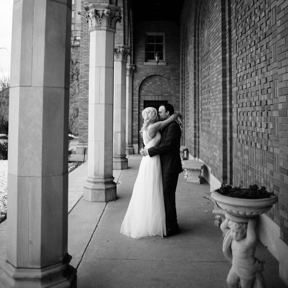 "Mike ""Louie"" and his bride Liz enjoy an intimate moment on their wedding day, November 19, 2016 in Minneapolis, MN."