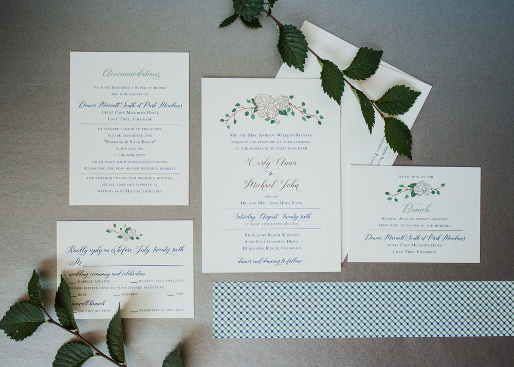A beautiful cohesive wedding invitation suite designed by LBC Design Co.