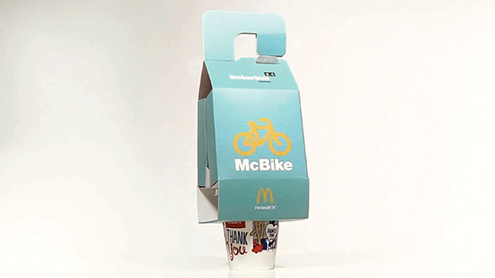 Customers who want their food to go have the option of a drive-thru window or ordering at the counter, and this works superbly for those who walk or drive to the restaurant, but what of those who bike there? To better market to this segment of consumer, and to boost its new health-conscious image, McDonald's has created a truly innovative container, which it calls the McBike. Continue reading …