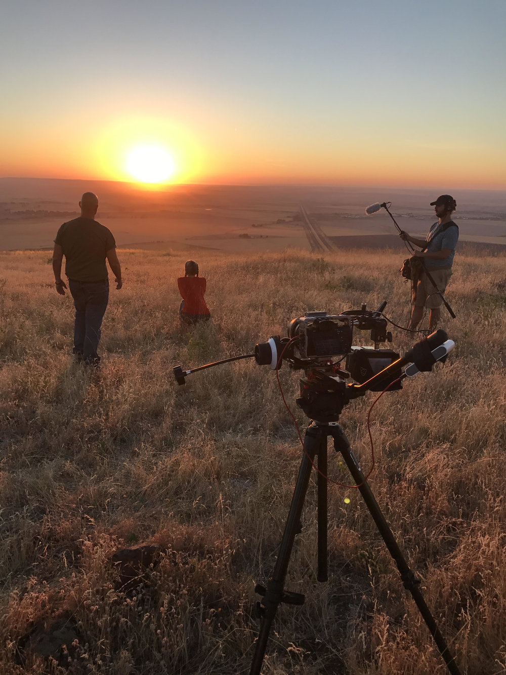 Filming a dramatic scene during sunset atop a mountain overlooking the Umatilla Reservation in Pendleton, Oregon.