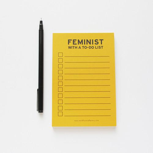 Feminist to do list note pad, so cute!