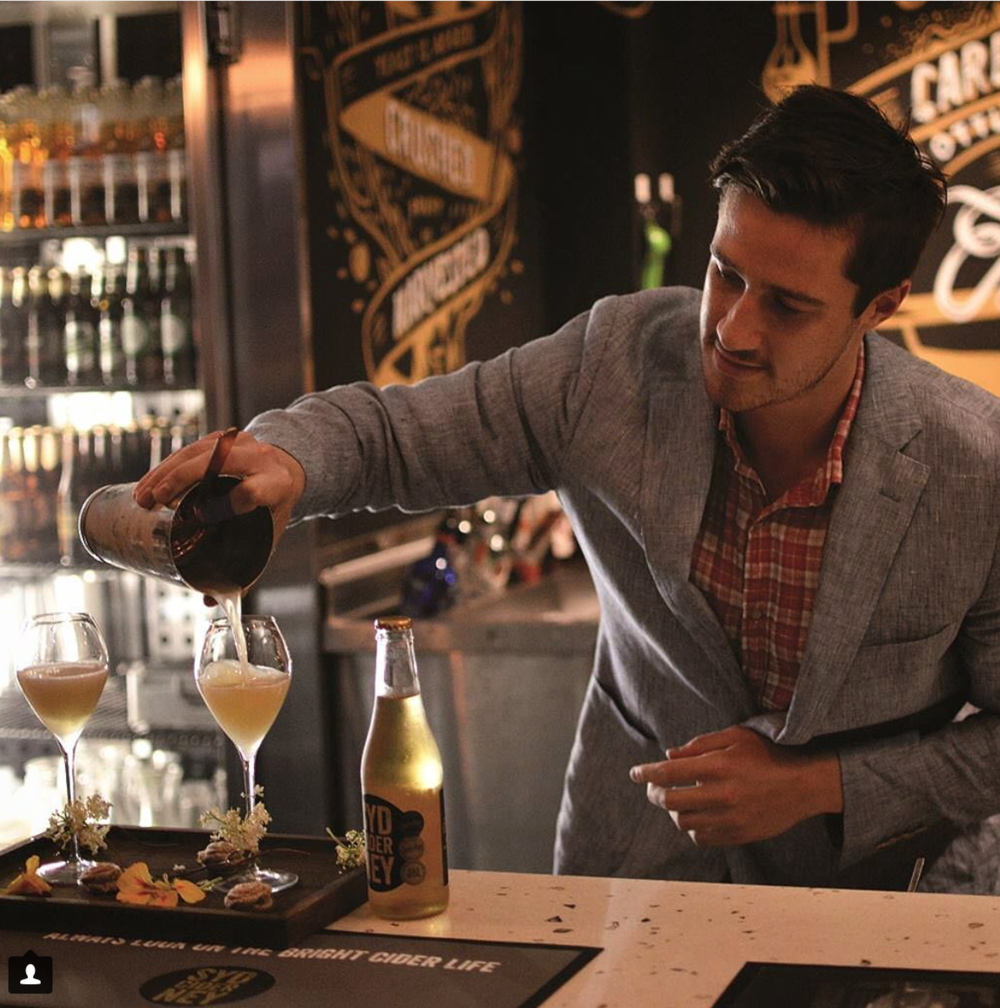 Kurtis competing at the Sydney brewery Cider Cocktail Competition, presenting his winning cocktail 'Isaacs Reasoning'