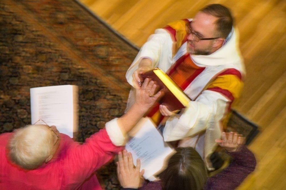 Photograper unkown. Gospel Procession, Episcopal Divinity School.