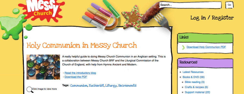 Screen shot from www.messychurch.org.uk    DOWNLOAD THE DOCUMENT ON MESSY CHURCH HOLY COMMUNION  AT:   https://www.messychurch.org.uk/messy-blog/messy-church-communion#overlay-context=