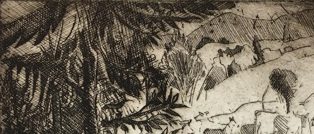 "Etching (detail) by Bernard Greenwald from ""The Akedah"" series"