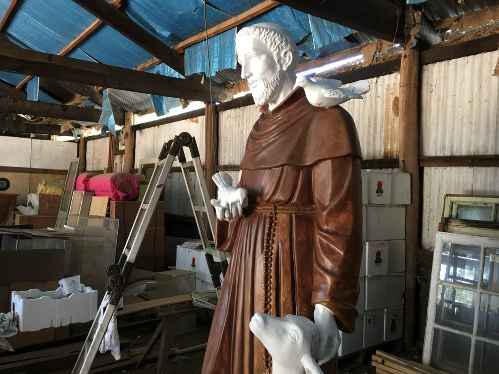 St Francis at the Stupa: work in progress, artist Lucy Wang (work shed, Stupa grounds)