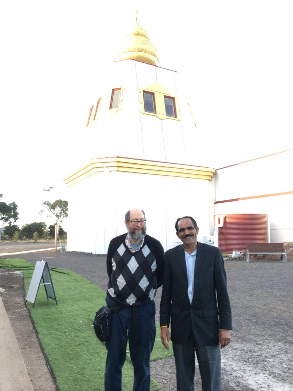 Warren Burt, and our host and design engineer at Sri Durga Temple / photo by Catherine Schieve