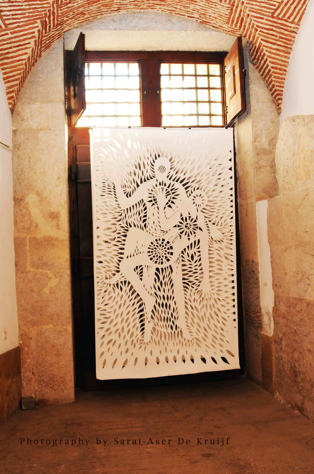 Sacred Banner, by Rod Pattenden, installed Under a Medieval church in Spain; more of Rod's artworks at  http://www.rodpattenden.id.au/
