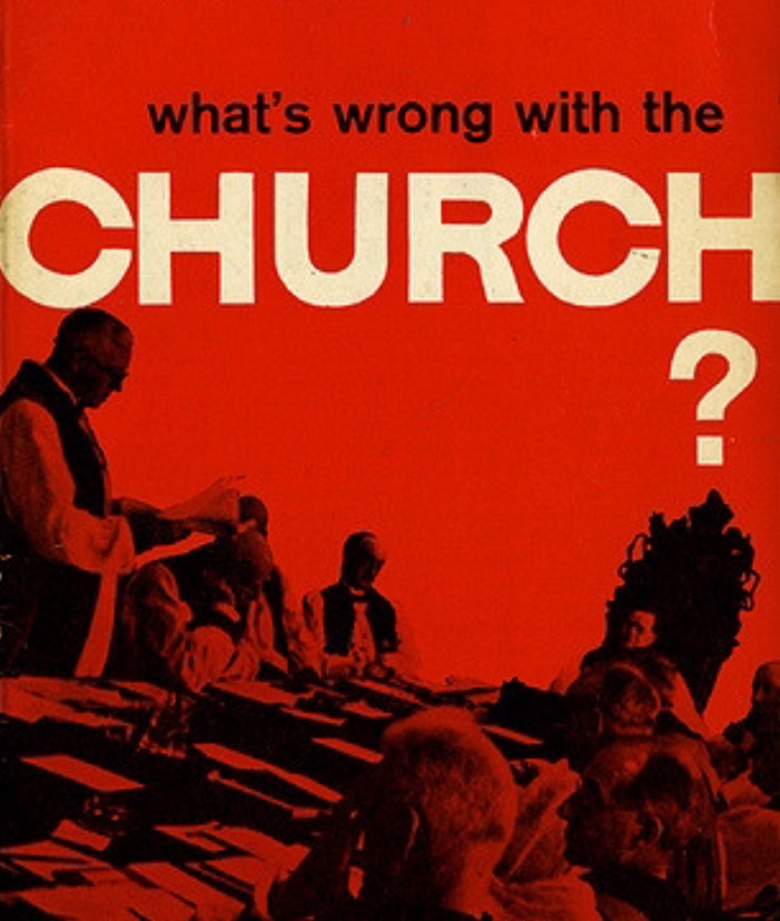image: book cover found in secondhand book store: Nick Earle,  What's Wrong with the Church?  (Harmondsworth: Penguin, 1961).