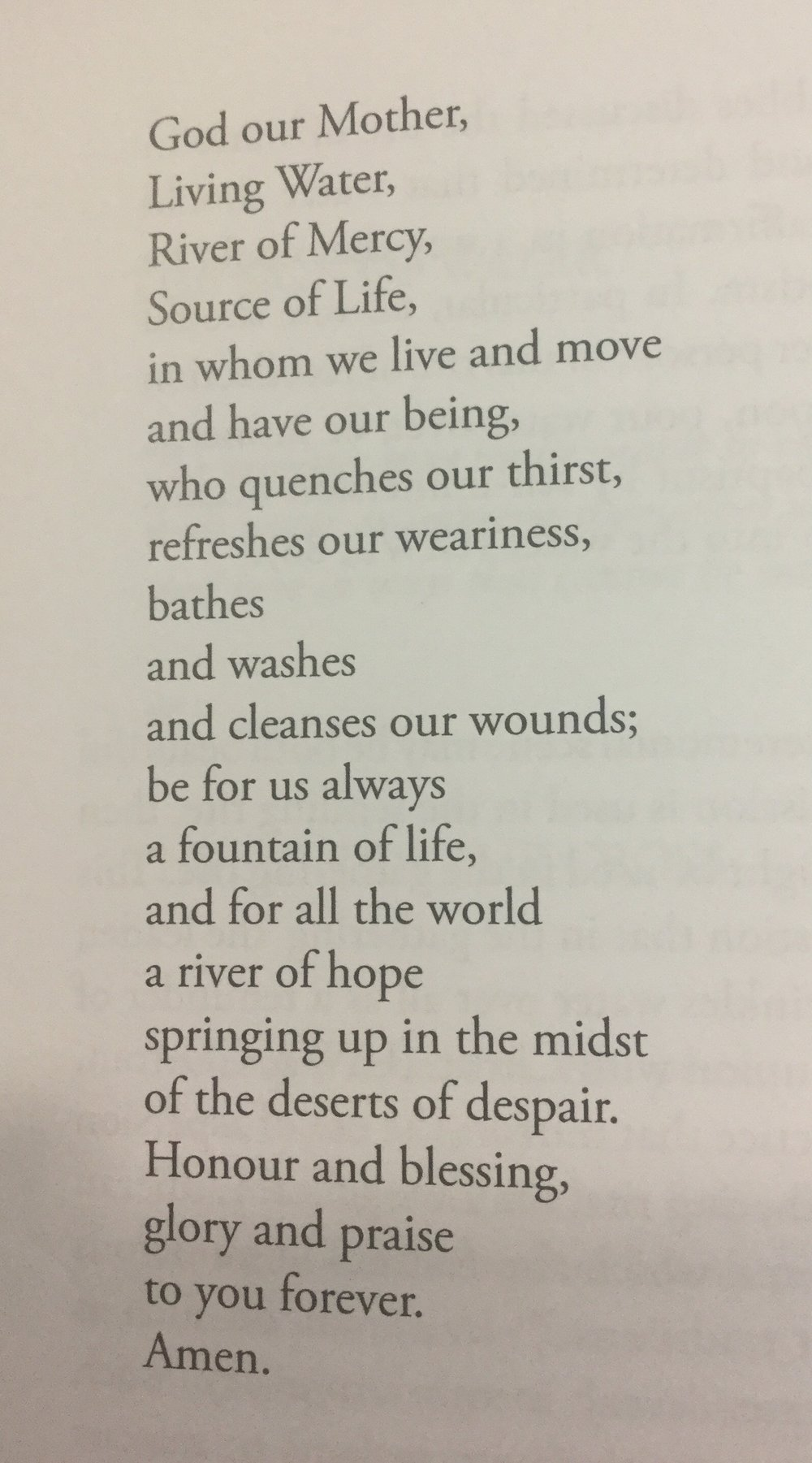 Originally found in Mirian Therese Winter,   WomanPrayer, WomanSong: Resources for Ritual (  New York: Crossroad, 1987), this prayer over the waters of the font is also found in the United Church of Canada's  Celebrate God's Presence: A Book of Services  (Etebicoke, Ont.: United Church Press, 2000) and the  Uniting Church in Australia's Uniting in Worship 2  (Sydney: Uniting Church Press, 2005). (Photo of the text in  Celebrate God's Presence , by Stephen Burns.)