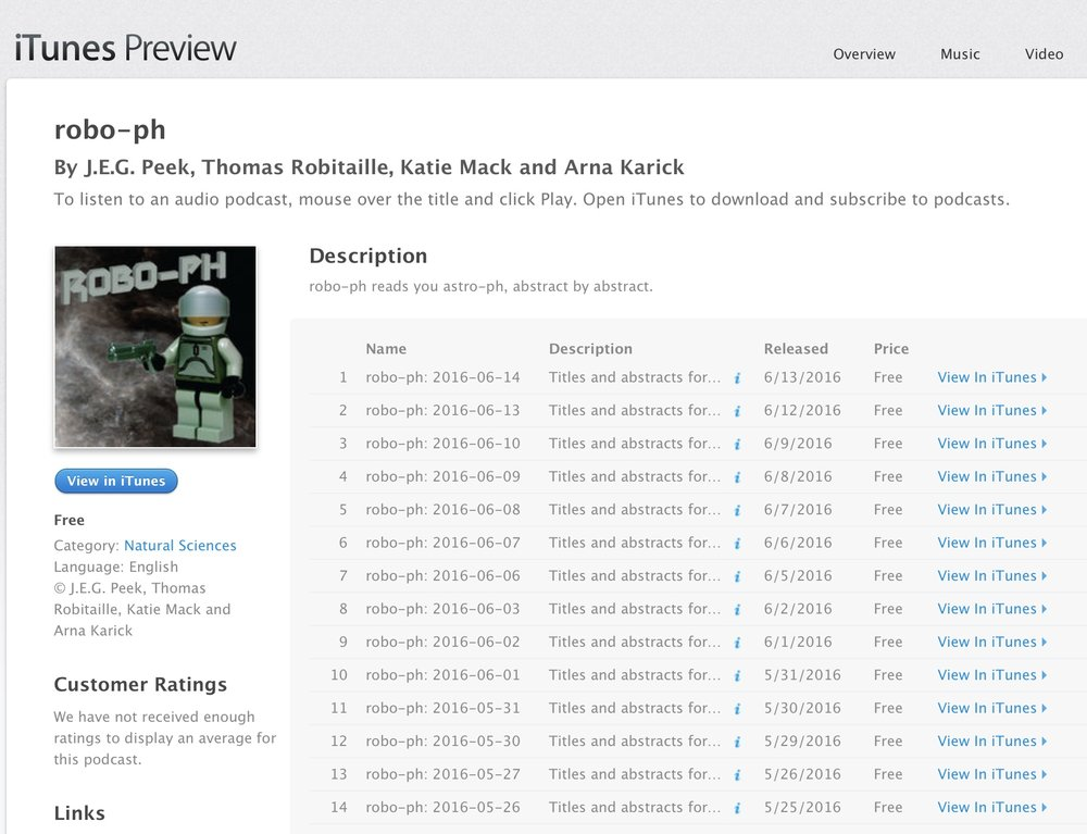 The robo-ph podcast on iTunes
