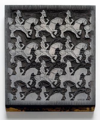 Houtblok, M.C. Escher,Regelmatige vlakverdeling, 1958 [GV 1655]
