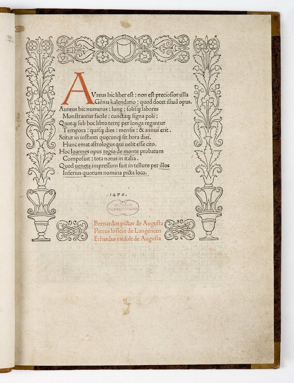 Regiomontanus,  Calendarium [3 D 39, 1r]