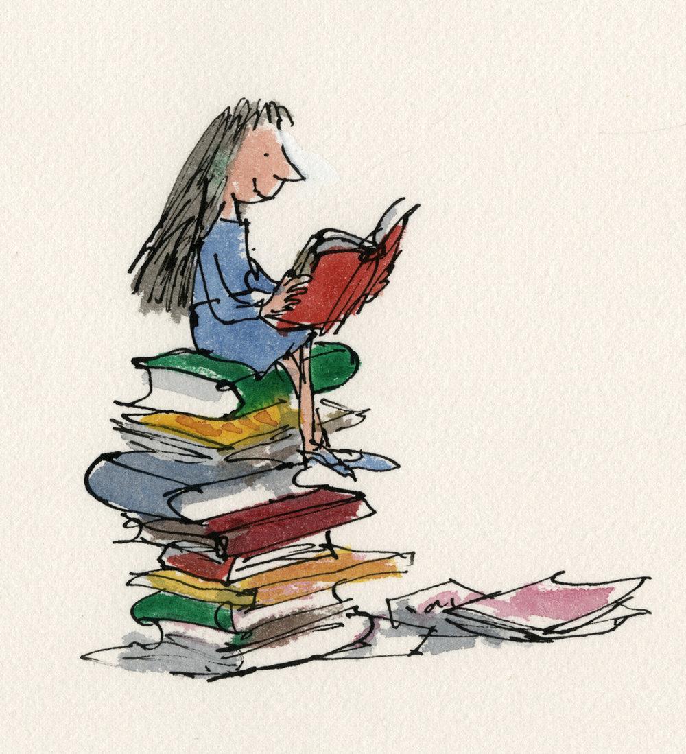 Copyright Quentin Blake, Matilda uit 'Matilda' van Roald Dahl (1988) © Sir Quentin Blake