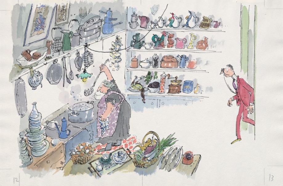 Professor Dupont in de keuken, uit 'Cockatoos' van Quentin Blake (Jonathan Cape) © Quentin Blake, 1992