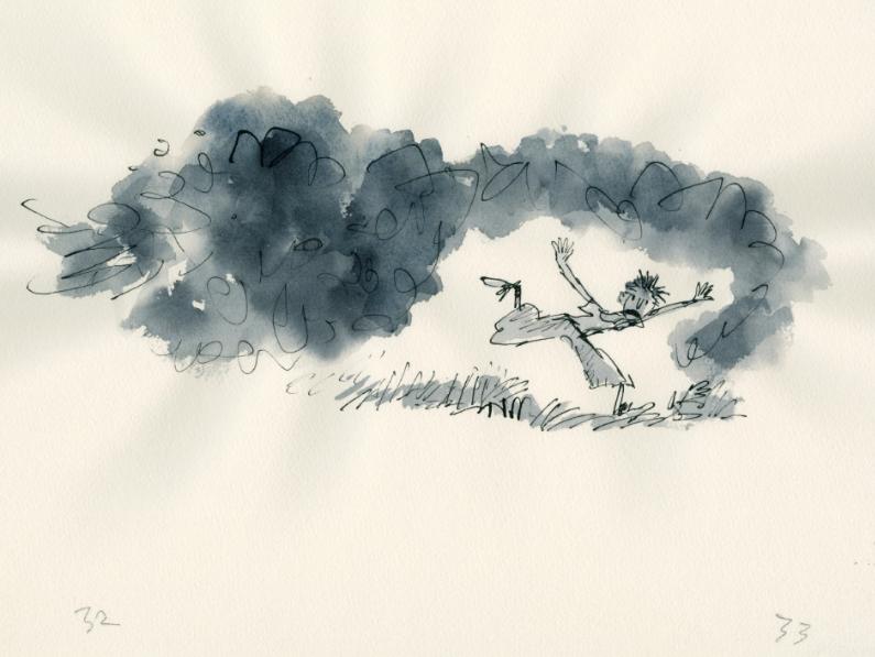 Billy rent weg voor de rook van Spittler, uit 'Billy and the Minpins' van Roald Dahl (Penguin) © Quentin Blake, 2017