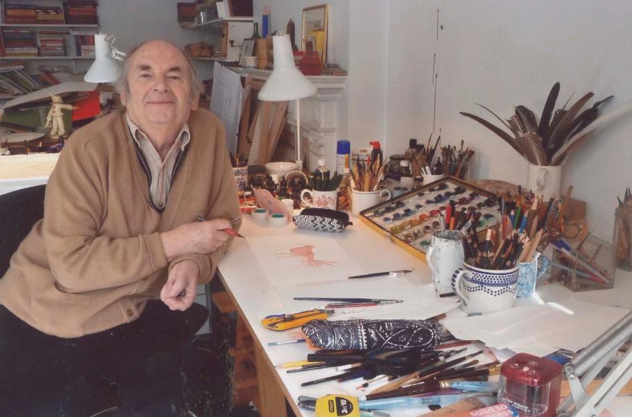 Quentin Blake in zijn studio © Linda Kitson, 2010