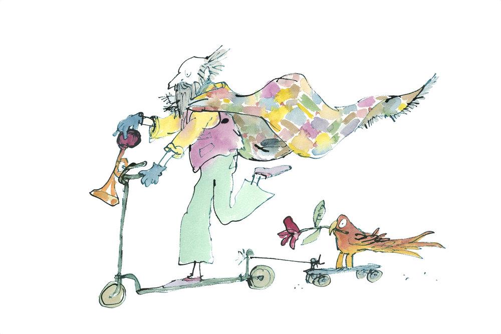 Matilda uit 'Matilda' van Roald Dahl (1988, Jonathan Cape) © Quentin Blake, 1988