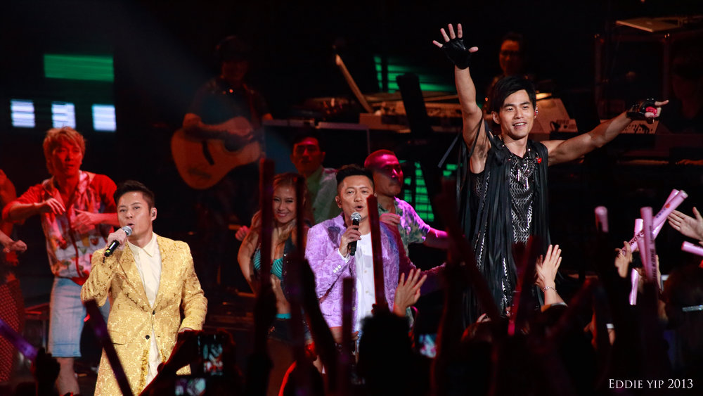 Jay Chou (far right) performs in 2013 with Hong Kong boy band Grasshopper. Chou is perhaps Taiwan's most famous cultural export, and has achieved mainstream success as a singer and actor in China. Photo courtesy of Eddie Yip.