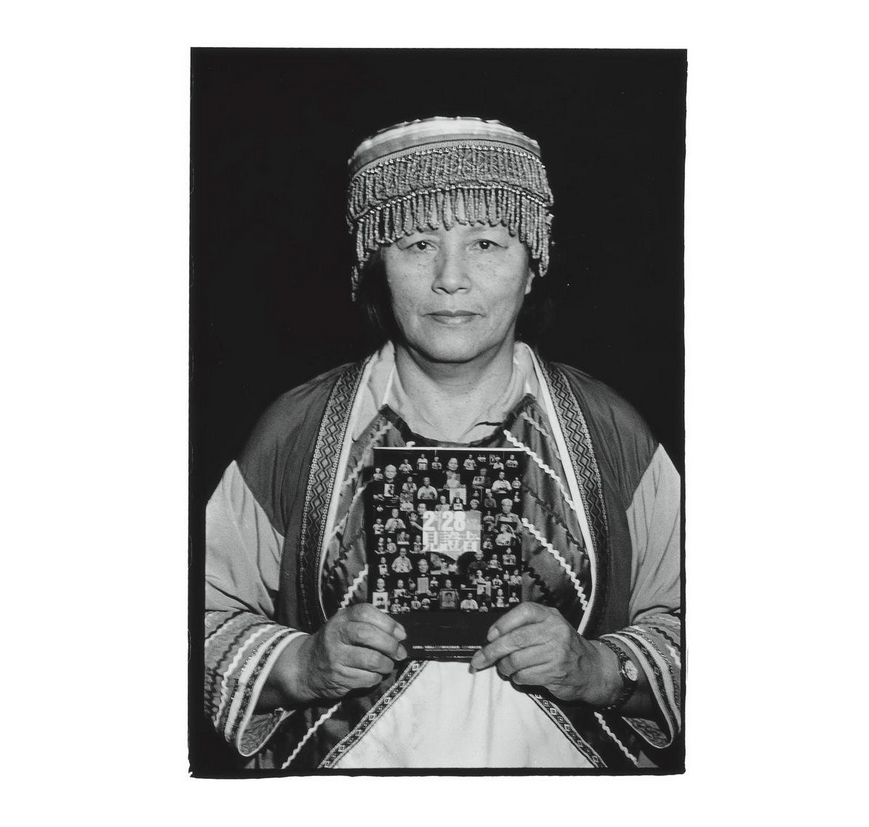 Fang Ling-mei with a copy of the book 228 Witness (228見證者). Photo courtesy of Pan Hsiao-hsia, from the book  Testimonies of 228  (見證228).