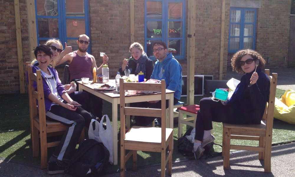 The obligatory chilling on lunch shot... Cécile maintains the sun was in her eyes, not that she was having a terrible time.