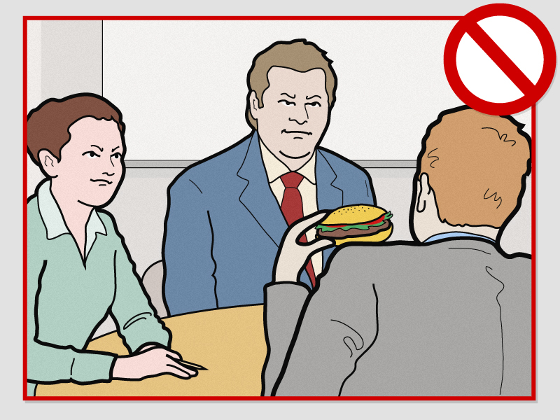 This appeared when I googled 'etiquette'. Guys, never eat a burger in a meeting, ok? NEVER.