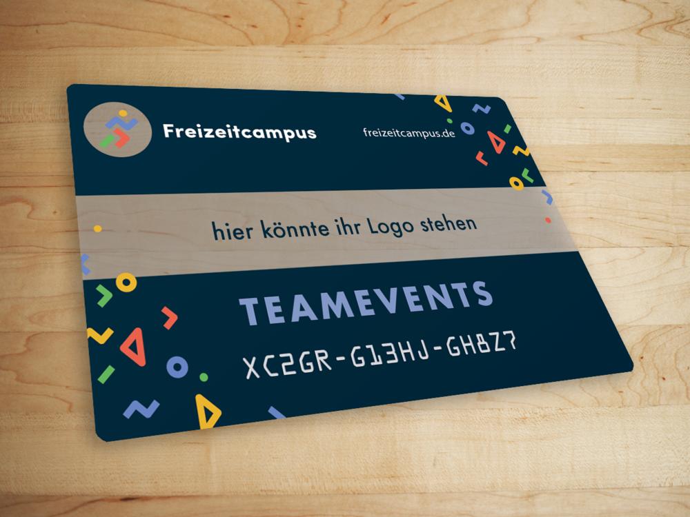 Die Teameventcard lässt sich mit eurem Logo individualisieren!