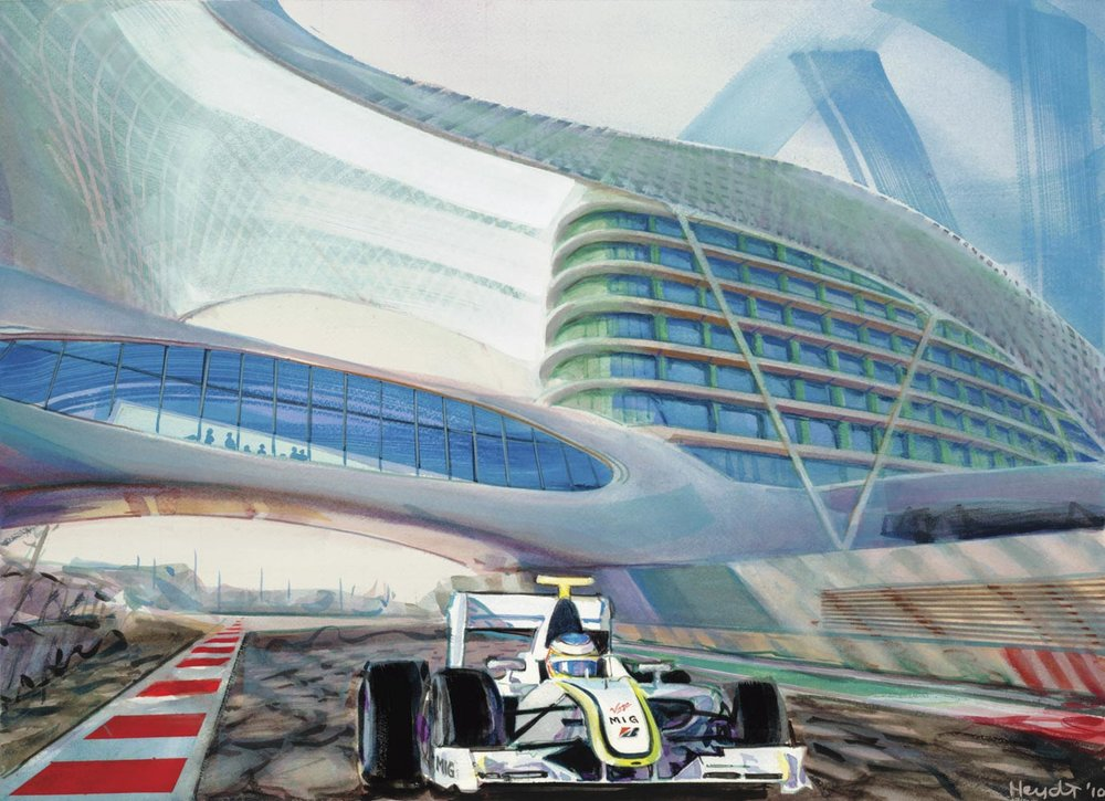 Brawn under Yas Hotel Bridge