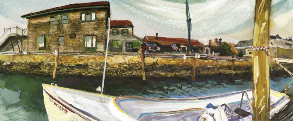 Cool breezes mark an early Spring day, Bannister's Wharf, 1998