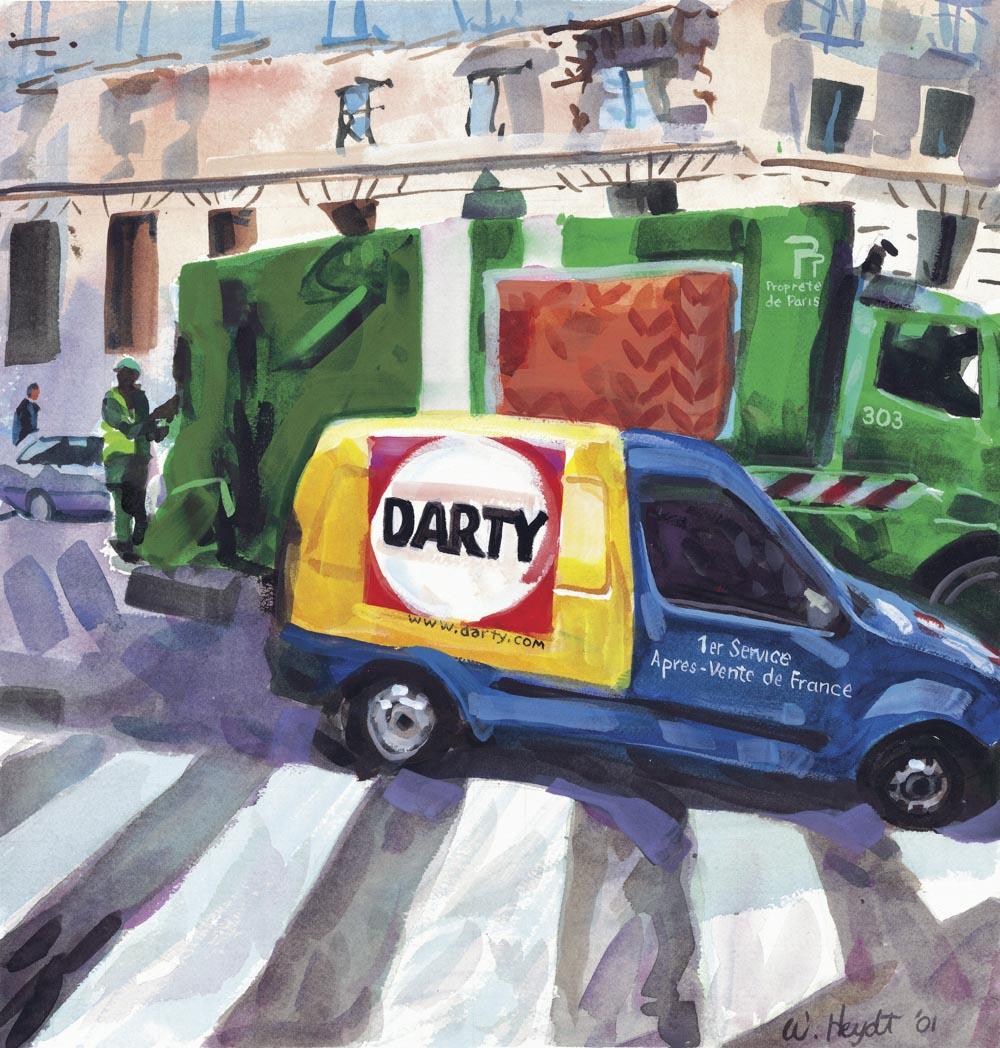 Une camionnette de service se gare prés du musée d'Orsay, Paris