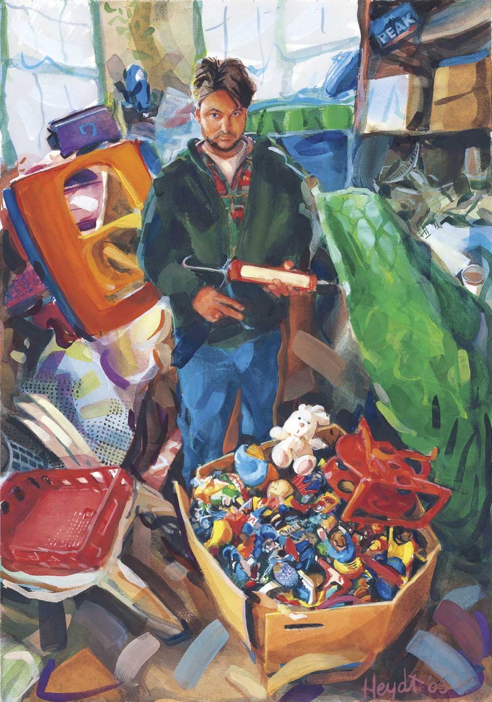Tom Deininger stands amidst his palette in his studio, Fall River