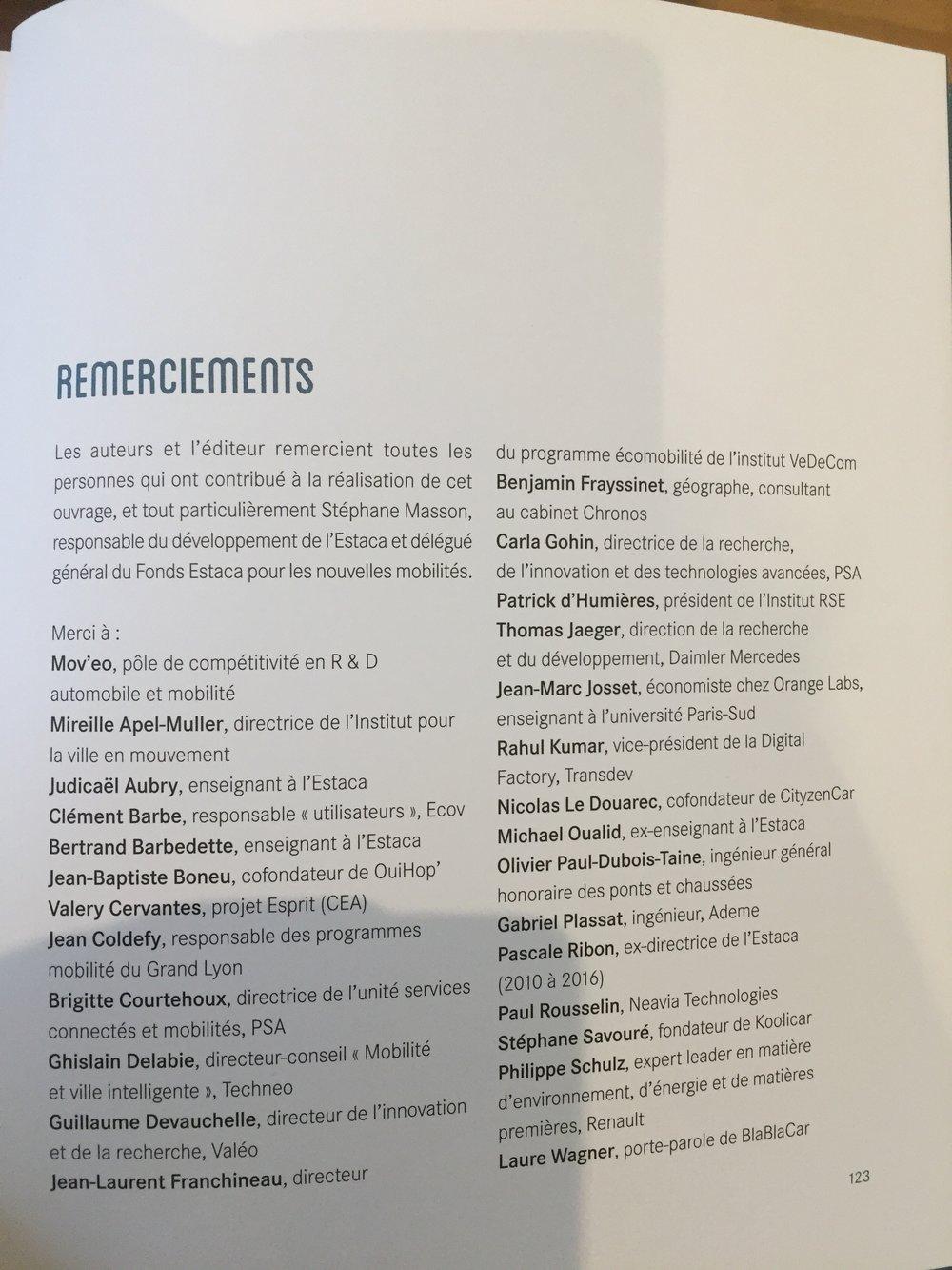 """Liste des experts sollicités par l'ESTACA pour la réalisation du livre """"Mobilités du futur"""""""