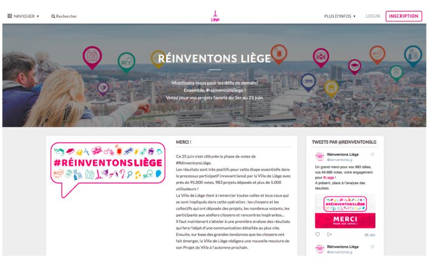"""Dans le cadre de l'opération """"Réinventons Liège"""", les citoyens ont pu déposer leurs idées et voter pour celles qu'ils souhaitaient voir intégrer au Projet de Ville via la plateforme en ligne     Citizen Lab    ."""