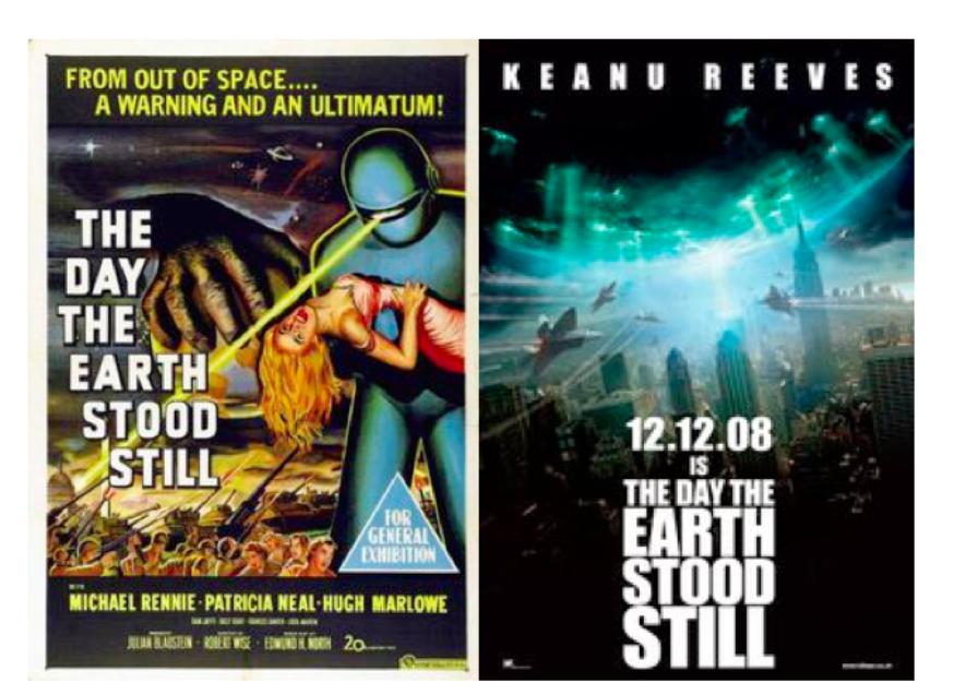 Dans « Le Jour où la Terre s'arrêta » (1957), sorti pendant la guerre froide, l'extraterrestre Klaatu menace de détruire l'espèce humaine si elle continue sa course à l'armement. Dans son remake récent (2008), Klaatu fait la même menace si les humains continuent de dégrader l'environnement.