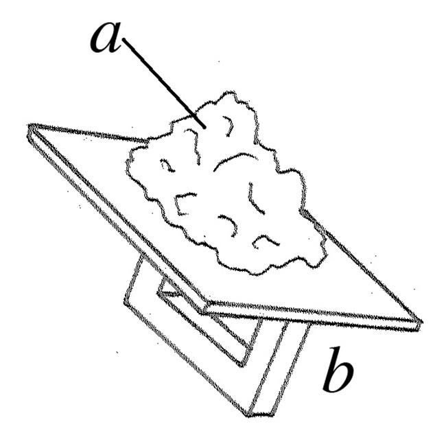 a.  E: mortar; F:mortier m, 'colle' f; G:Mörtel m, Speis m  b.  E:hawk; F:taloche f; G:Reibbrett s, Maurerscheibe w