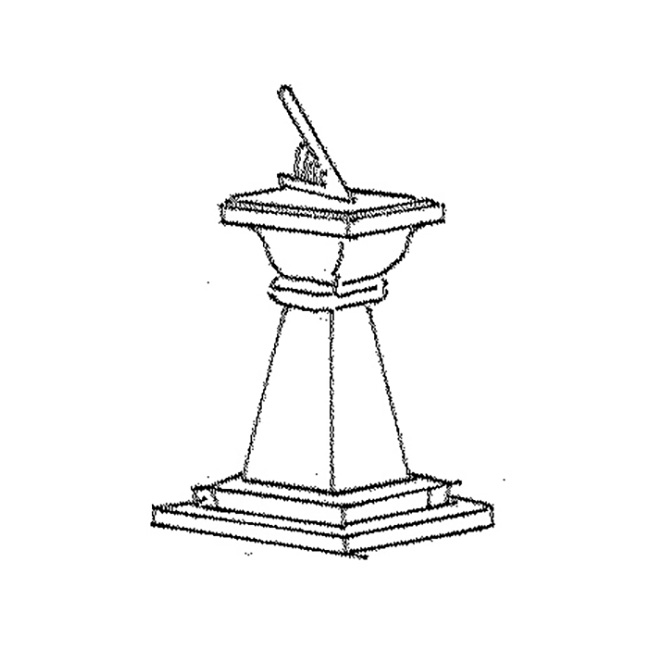 E: sundial, sun dial; F: cadran (m) solaire; G: Sonnenuhr w
