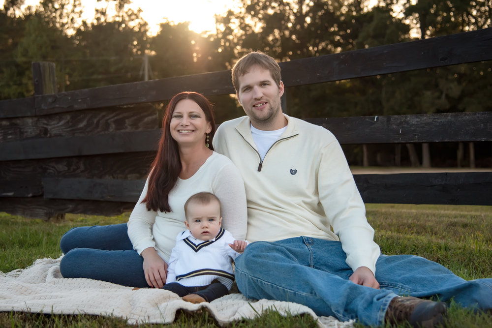 Family of three Fall Portraits on Horse Farm in Midlothian Virginia