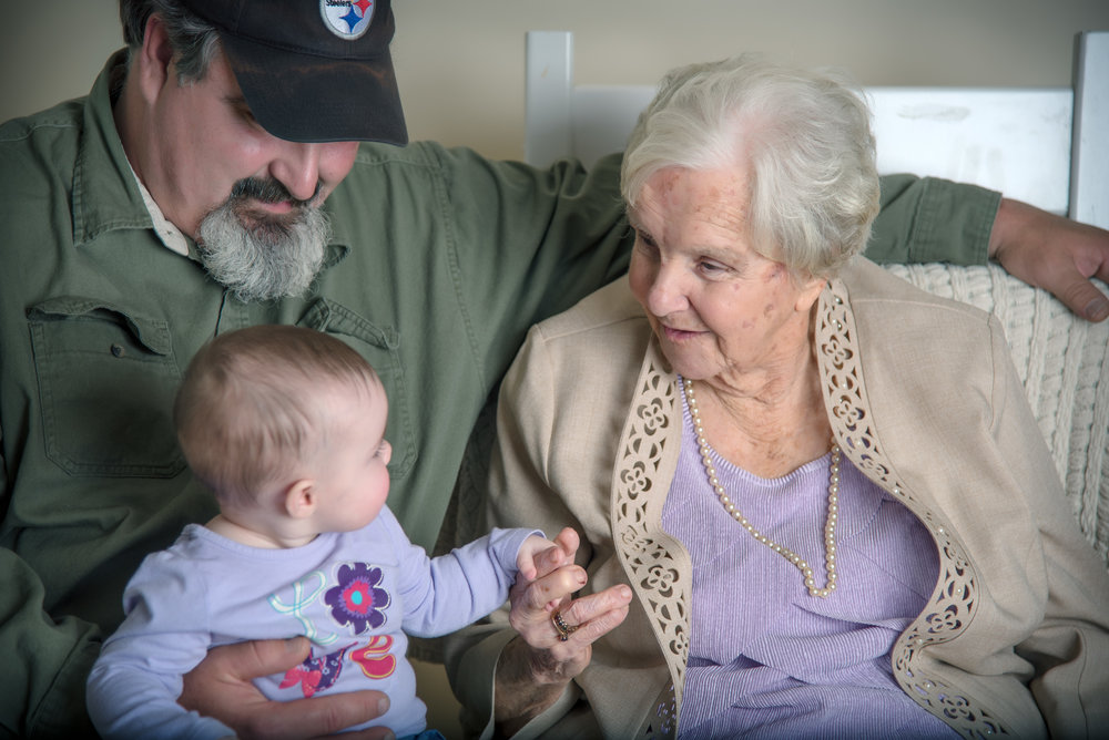 three generation grandmother grandson great granddaughter precious moment