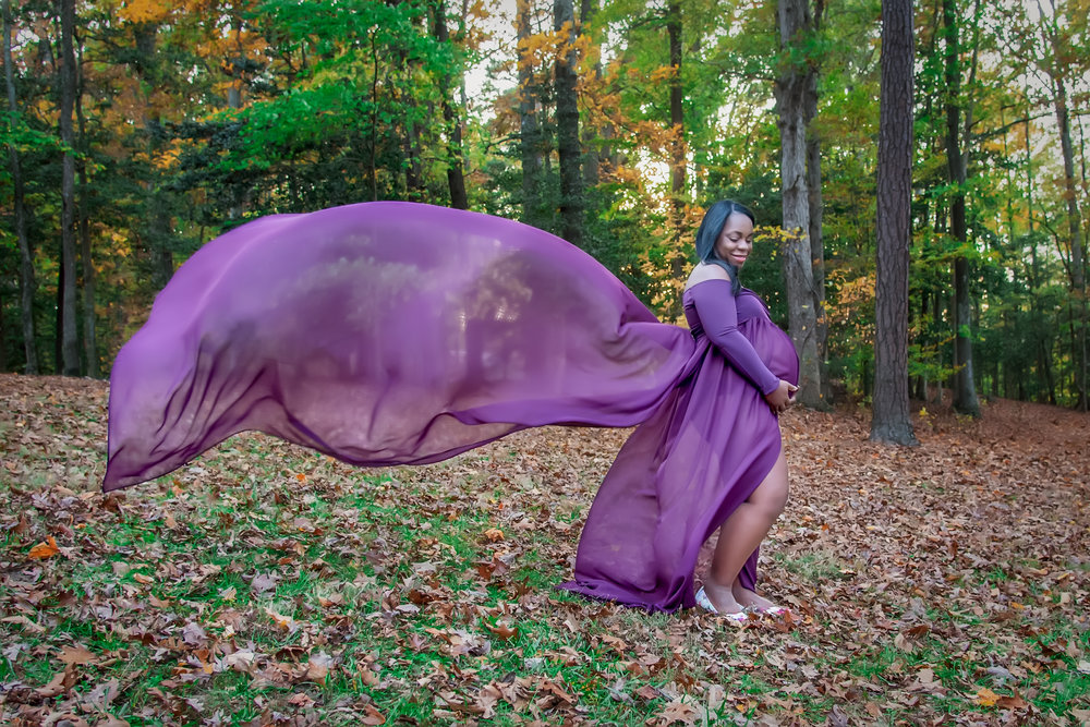 Purple Maternity Flowing gown portrait in Sunday Park in Midlothian Brandermill VA