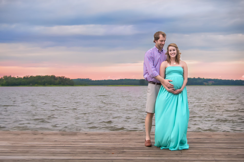 Teal maternity sunset water maternity photography session