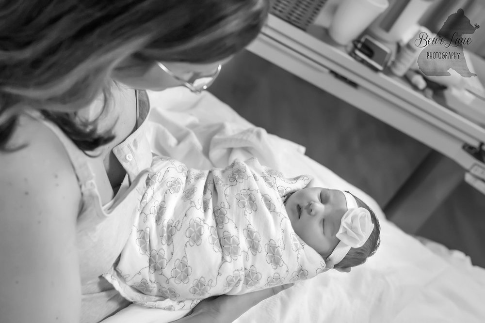 Mom and baby girl fresh 48 in hospital photography session