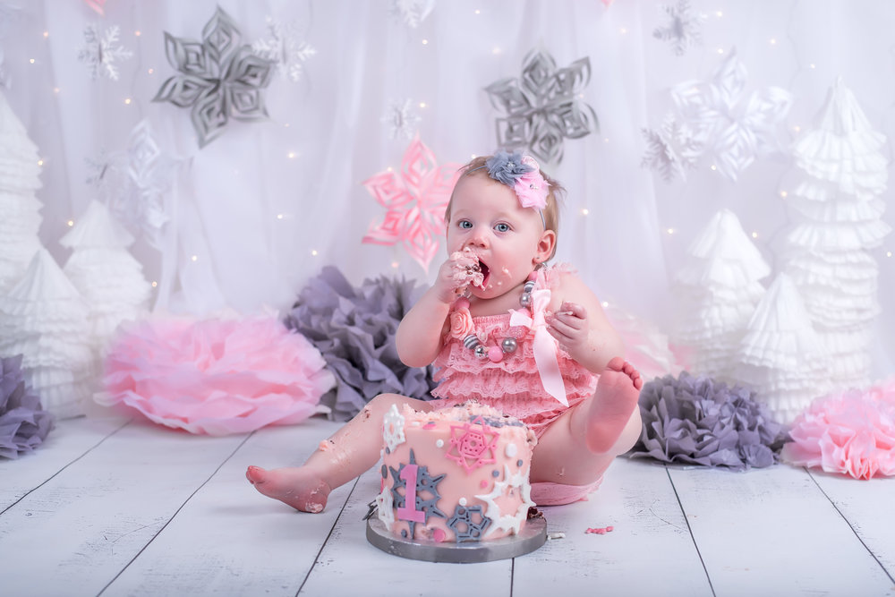 Winter ONEderland wonderland pink gray and white cake smash theme